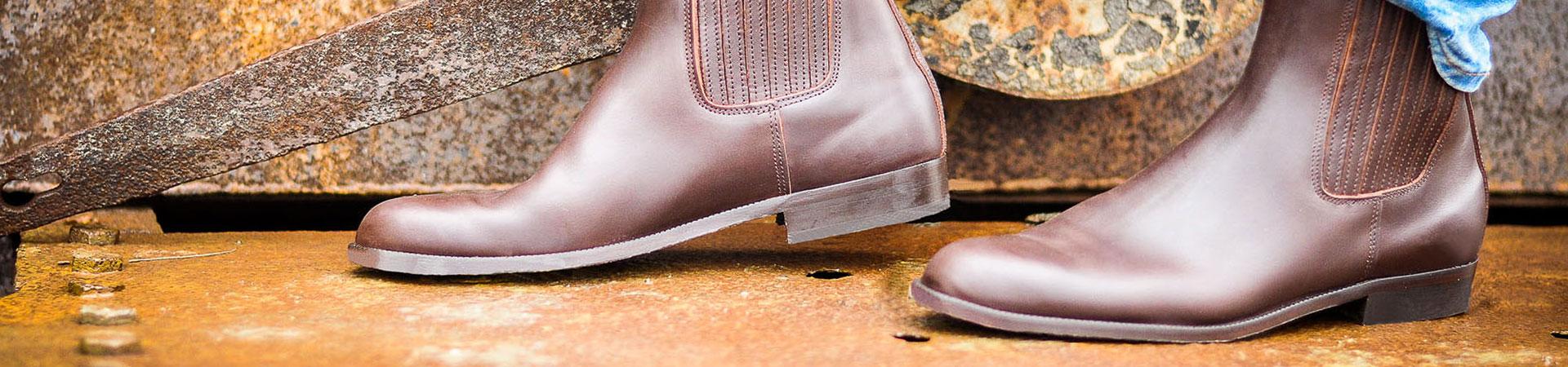 Sujeción Para hombre Botas bajas en cuero de becerro marrón